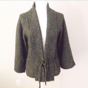 Ann Taylor Loft Green Tweed Bulky Wool Sweater
